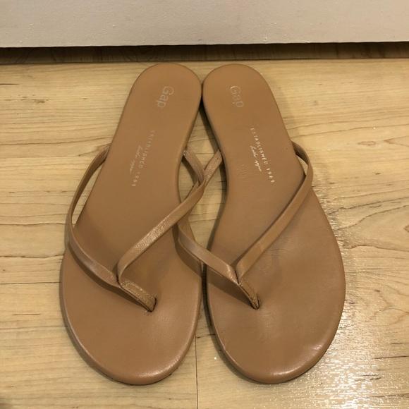 67a56606a3b5 GAP Shoes - Gap Nude Leather Flip Flops